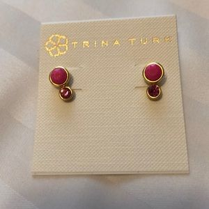 NWT Trina Turk pink and gold earrings